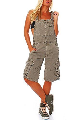 Jet Lag Damen Overall Shorts mit Brusttasche cement S