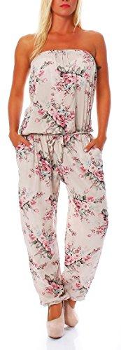 Jumpsuit Einteiler Overall Hosenanzug geblümt 1495 Damen One Size (hellbeige)