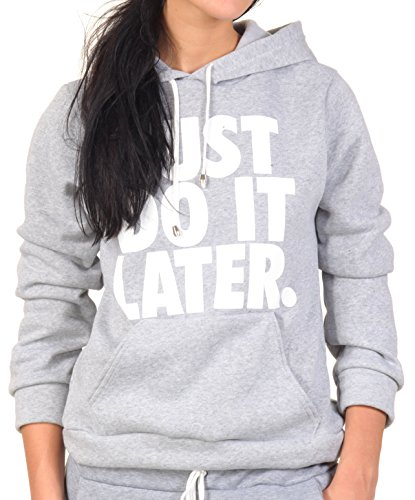 Just do it Later Hoodie Pullover Pulli Sweatshirt Sweater Obey Supreme High Fashion Homies Dope Disobey Supreme Crop Top Bauchfrei (M/L, Hellgrau)