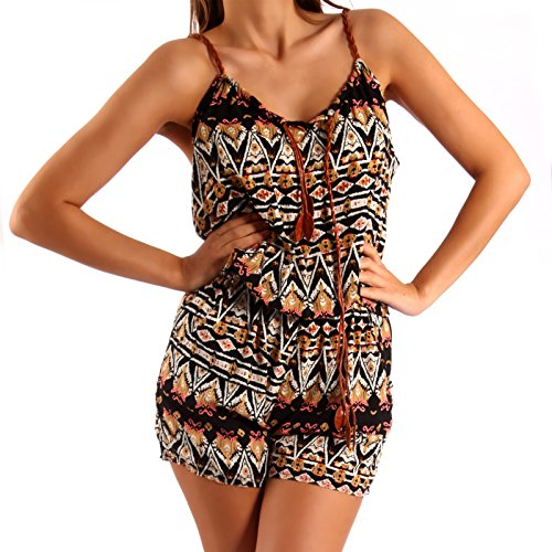 Kurz Overall Jumpsuit Playsuit Shorts Ethno Muster