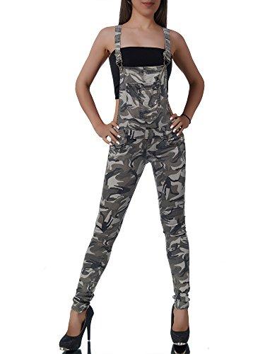 L112 Damen Jeans Hose Hüfthose Damenjeans Hüftjeans Röhrenjeans Röhre Latzhose, Farben:Grau;Größen:40 (L)
