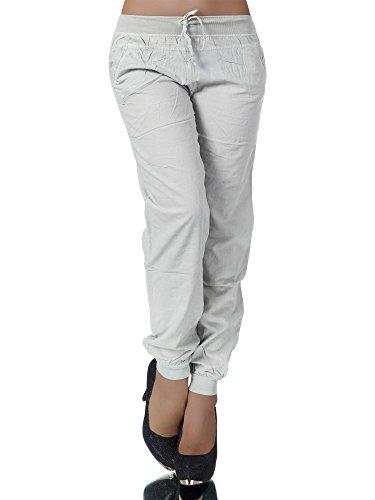 L138 Damen Chino Hose Stoffhose Sommerhose Haremshose Baggy Pumphose Hosen , Farben:Grau;Größen:L/XL