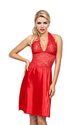Lady-Mode Negligee aus Satin Oda (XS - 2XL) (XL, Rot)