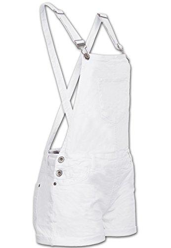 Latz-Short | kurze Latzhose | Hot-Pants für Damen von Fresh Made - angesagte Baumwoll-Latzshort mit Stretch-Anteil in Weiß, Gr. XL