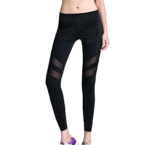 Lorata Frauen Damen Sport Hose Pants Jogging Yoga Strumpfhosen Jogginghose Neunte Hosen Leggings Schwarz
