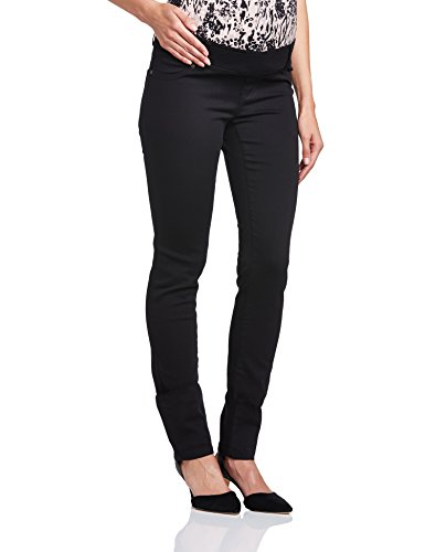 Love2wait Damen, Skinny, Umstandshose, Superskinny, Schwarz (Black), 28W