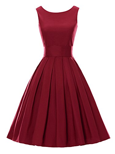 LUOUSE Sommer Damen Ohne Arm Kleid Dress Vintage kleid Junger abendkleid,WineRed,M