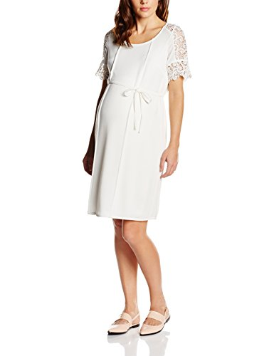 MAMALICIOUS Damen A-Linie Umstandskleid MLELLINOR 2/4 WOVEN SHORT DRESS, Knielang, Einfarbig, Gr. 38 (Herstellergröße: M), Weiß (Snow White)