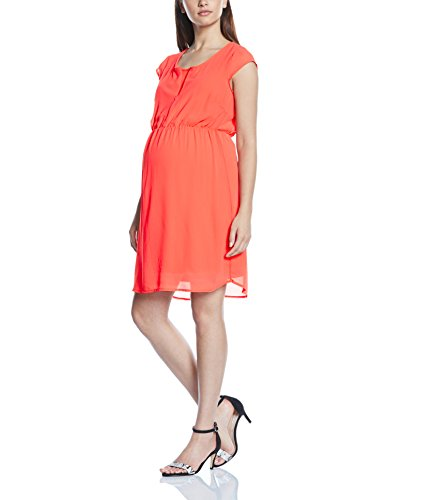 MAMALICIOUS Damen Cocktail Umstandskleid mit Stillfunktion Mlsola Lia Woven Dress, Knielang, Einfarbig, Gr. 40 (Herstellergröße: L), Orange (Spiced Coral)