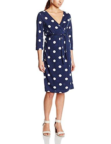 MAMALICIOUS Damen Dekolletiertes Umstandskleid MLDOTTI 3/4 JERSEY WRAP DRESS, Midi, Gepunktet, Gr. 38 (Herstellergröße: M), Mehrfarbig (Moonbeam)