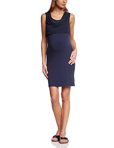 MAMALICIOUS Damen Neckholder Umstandskleid Mlgema S/l Mix Dress, Knielang, Einfarbig, Gr. 40 (Herstellergröße: L), Blau (Black Iris)