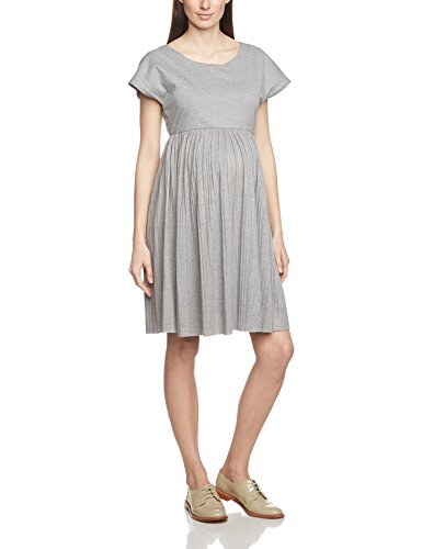 MAMALICIOUS Damen Umstandskleid 20003834, Knielang, Einfarbig, Gr. 38 (Herstellergröße: M), Grau (Light Grey Melange)