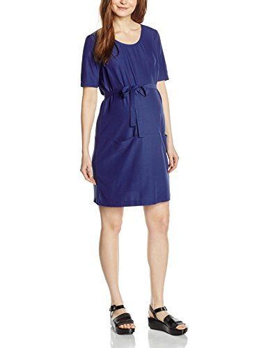 MAMALICIOUS Damen Umstandskleid MLASTRID 2/4 WOVEN TUNIC, Knielang, Einfarbig, Gr. 38 (Herstellergröße: M), Blau (Twilight Blue)