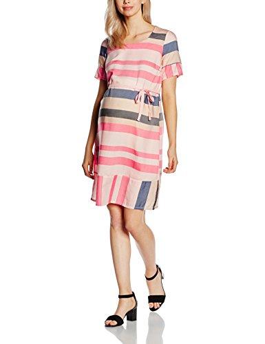 MAMALICIOUS Damen Umstandskleid MLBLOCK SS WOVEN DRESS, Knielang, Gestreift, Gr. 38 (Herstellergröße: M), Mehrfarbig (Evening Sand)