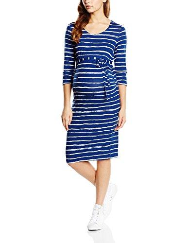 MAMALICIOUS Damen Umstandskleid MLSTRIPY 3/4 JERSEY DRESS, Midi, Gestreift, Gr. 36 (Herstellergröße: S), Mehrfarbig (Twilight Blue)