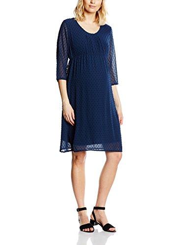 MAMALICIOUS Damen Umstandskleid MLZELDA 3/4 WOVEN DRESS, Knielang, Einfarbig, Gr. 40 (Herstellergröße: L), Blau (Black Iris)