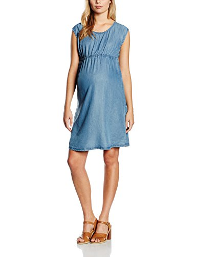 MAMALICIOUS Damen Umstandskleid Mlteresa S/S Dress, Blau (Medium Blue Denim), 38 (Herstellergröße: M)