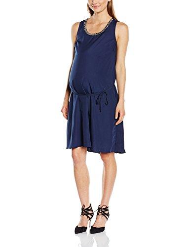 MAMALICIOUS Damen Umstandskleid Mltitte Sl Woven Dress, Midi, Einfarbig, Gr. 40 (Herstellergröße: L), Blau (Black Iris)