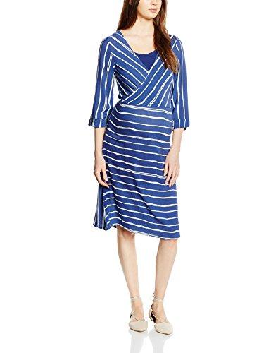 MAMALICIOUS Damen Umstandskleid gestreift mit Stillfunktion, Midi, Gestreift, Gr. 40 (Herstellergröße: L), Mehrfarbig (Twilight Blue)