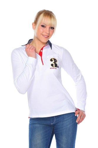 M.Conte Damen Poloshirt Polo-Sweat Sweatshirt Langarm Montserrat Weiss M