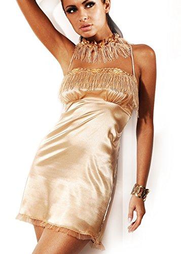 MIRAN 727 Blickdichtes Luxus Satin Nachthemd, Negligee Babydoll Dessous Reizwäsche, Farbe creme, gold (L / 40)
