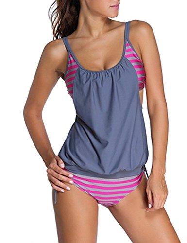 MUXILOVE Damen Bikini Set Streifen zweiteilig Schwimmanzug Tankini Bademode Strand Oberteile + Höschen Grau X-Large