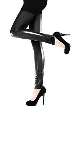Marilyn Leggings in Lederoptik glänzend, 120 Denier, Größe 40/42 (M/L), Farbe Schwarz (nero glänzend)