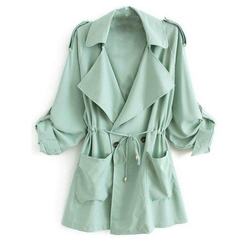 Minetom Damen Herbst Trenchcoat Mantel Langärmlig Revers Jacke Outwear ( Grün EU S )
