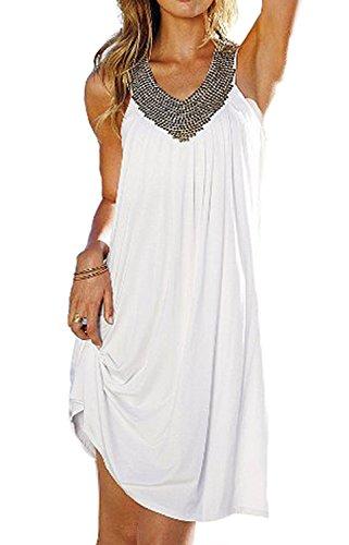 Minetom Europäische und amerikanische Mode heißen Bohren Strandkleid Kleid Urlaub Beachwear