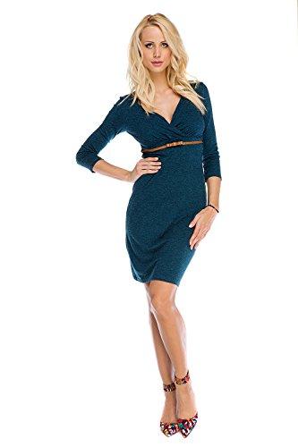 Mutterschafts Kleid Umstands Kleid & Stillkleid Carla petrol grün 3/4 Ärmel L (large) Umstandsmode von MY TUMMY ®©™
