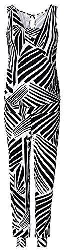 NOPPIES / Supermom Jumpsuit Overalls mit Wickeleffekt / Damen Dress Kleid ärmellos (M (36-38), schwarz print)