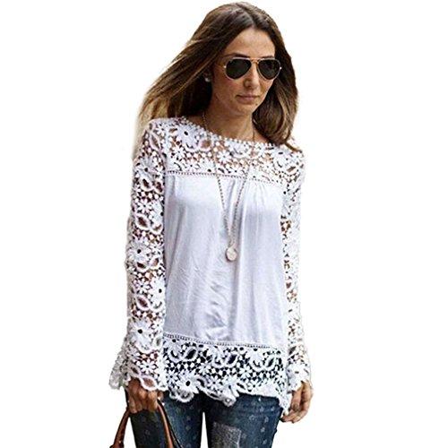 Neu Sexy Damen Tunika T-Shirt Spitze Longshirt Bluse Hemd Oberteil