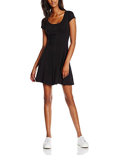 New Look Damen Kleid Button Through, Schwarz (Black), 36 (Herstellergröße: 8)