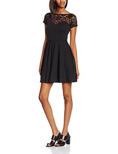 New Look Damen Kleid, Lace Bardot Skater Knielang , Gr. 42 (Herstellergröße: 14), Schwarz - Schwarz