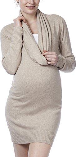 Noppies Damen Umstands Tunika Tunic knit ls Joni, Einfarbig, Gr. 42 (Herstellergröße: XL), Beige (Oat Meal C011)