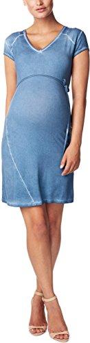 Noppies Damen Umstandskleid Dress cap Luna, Knielang, Einfarbig, Gr. 36 (Herstellergröße: S), Blau (Ice Blue C142)