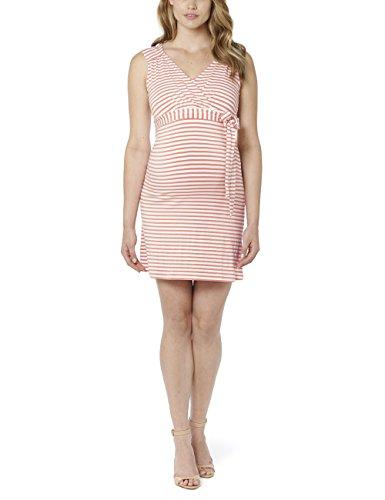 Noppies Damen Umstandskleid Dress nursing sl Lara YD 2, Knielang, Gestreift, Gr. 40 (Herstellergröße: L), Mehrfarbig (Peach C056)
