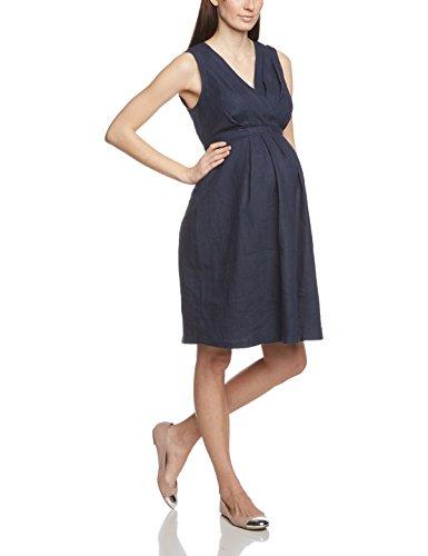 Noppies Damen Umstandskleid Dress woven sl Lima, Knielang, Einfarbig, Gr. 40 (Herstellergröße: L), Blau (Dark Blue C165)