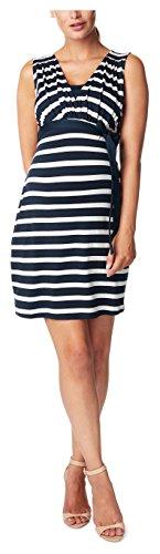 Noppies Damen Umstandskleid mit Stillfunktion Lara YD, Knielang, Gestreift, Gr. 38 (Herstellergröße: M), Mehrfarbig (Dark Blue C165)
