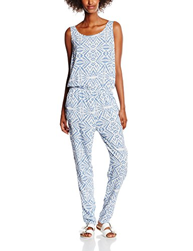 ONLY Damen Onlnova Graphic S/L Jumpsuit Wvn, Mehrfarbig (Cloud Dancer Aop:Graphic Denim), Small (Herstellergröße: 36)