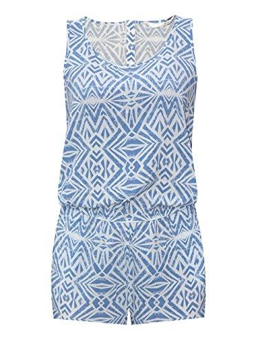 ONLY Damen Overall Jumpsuit NOVA GRAPHIC S/L PLAYSUIT kurz Sommer blau weiß (40)