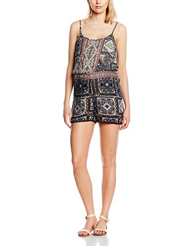 ONLY Damen Overall Onllilith Strap Playsuit, Mehrfarbig (Whisper White AOP:Marrakesh Squares Blue), 38