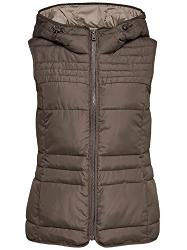 ONLY Damen Steppweste Weste Jacke MAGIC QUILTED HOODED WAISTCOAT mit Kapuze (M, braun (Falcon))