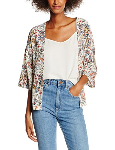 ONLY Damen Strickjacke Onlnova Bright Kimono Wvn, Mehrfarbig (Whitecap Gray Aop:Bright Autumn Flower), 38
