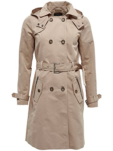 ONLY Damen Übergangs- Jacke Mantel SAVANNAH LONG TRENCHCOAT OTW beige, Gr. 38