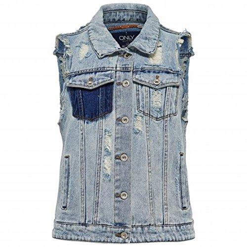 ONLY - Damen jeans weste christa waistcoat 38 licht denim