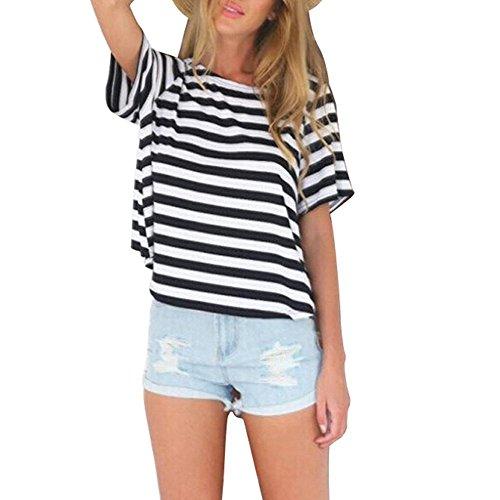 OUTEYE Frauen Damen Rückenfrei Kreuz Tops Casual Loose Kurzarm Streifen T-Shirt Bluse Sommer Shirt