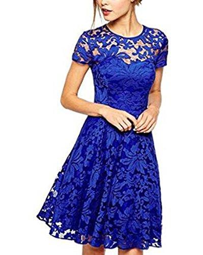 OYMMENEY Blau, EU M (Label L) Damen Kleid mit Spitze Sommerkleid shirt tunika tunikakleid Bluse Oberteil Damenbluse Kleider Top Kurz Knielang Fruehling Herbst