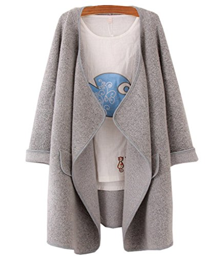 OYMMENEY Damen Strickjacke Kaschmir Pullover Lang Knit Cardigan Sweater Mantel Sweatjacke Jacke Poncho Jumper Pulli Herbst Winter