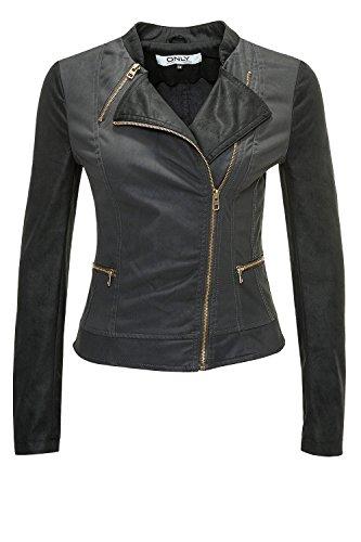 Only Damen Kunstlederjacke Duty Cropped PU Jacket (XL, Raven)